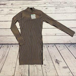 Missguided high neck mesh stripe bodycon minidress